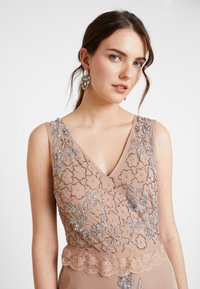 Maya Deluxe - V NECK MAXI DRESS WITH PLACEMENT EMBELLISHMENT AND DETAILING - Occasion wear - taupe blush - 4