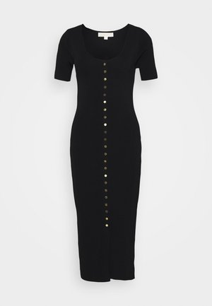 SNAP FRONT MIDI - Shift dress - black