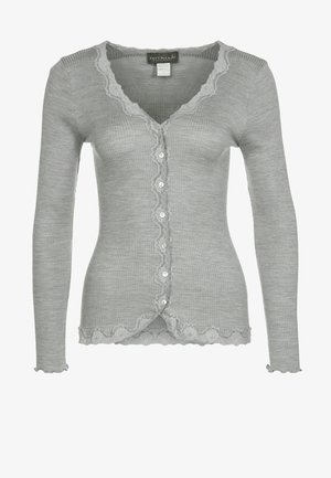 SILK-MIX CARDIGAN REGULAR LS W/REV VINTAGE LACE - Kofta - grey melange