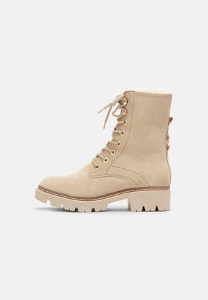 Lace-up ankle boots - cream