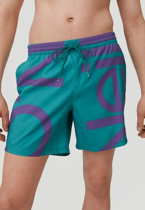 Swimming shorts - green with pink or purple