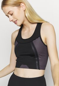 South Beach - SCOOP NECK MUSCLE BACK LONGLINE - Light support sports bra - black/cocoa - 4