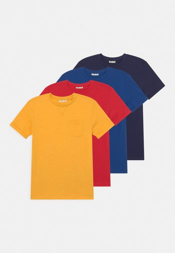 SLUB 4 PACK - Basic T-shirt - solar power/true blue/ chinese red/maritime blue