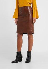 STUDIO ID - HANNAH LEATHER SKIRT - A-line skirt - brown - 0