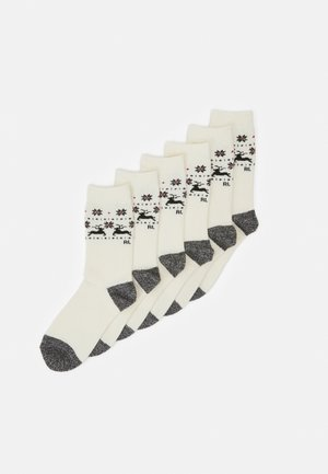 DEER BORDER CREW SOCK 6 PACK - Socks - ivory