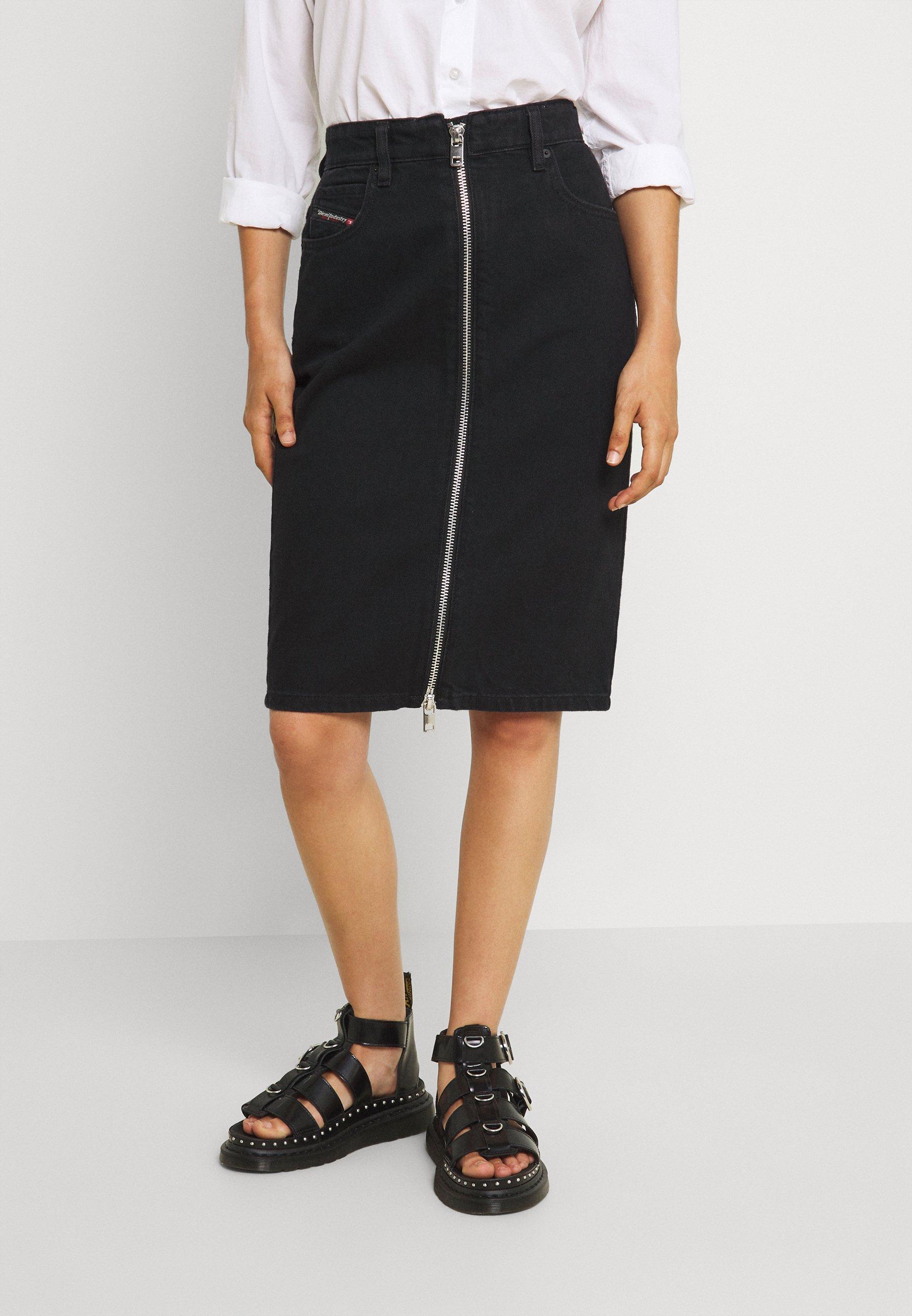 Femme DE-PENCIL-ZIP - Jupe en jean