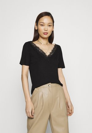 VINOEL LACE DETAIL  - T-shirt con stampa - black