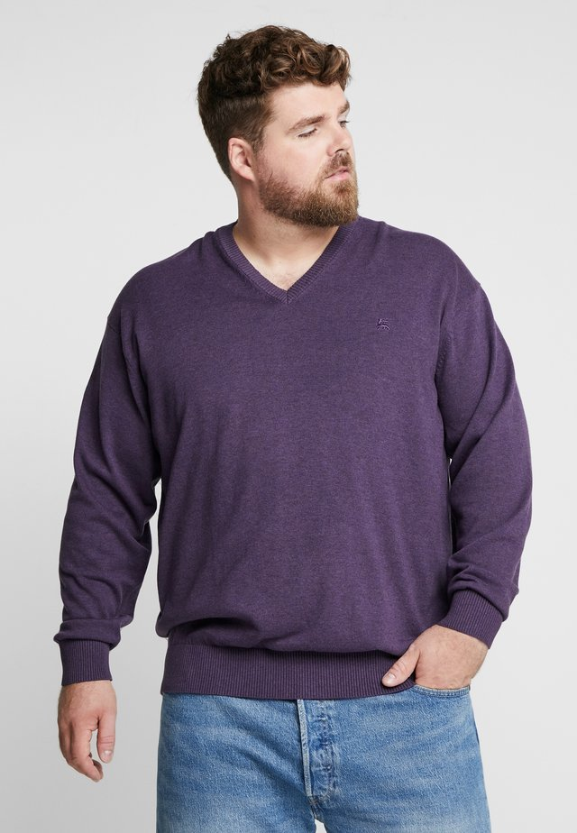 V-NECK - Jumper - autumn grape melange