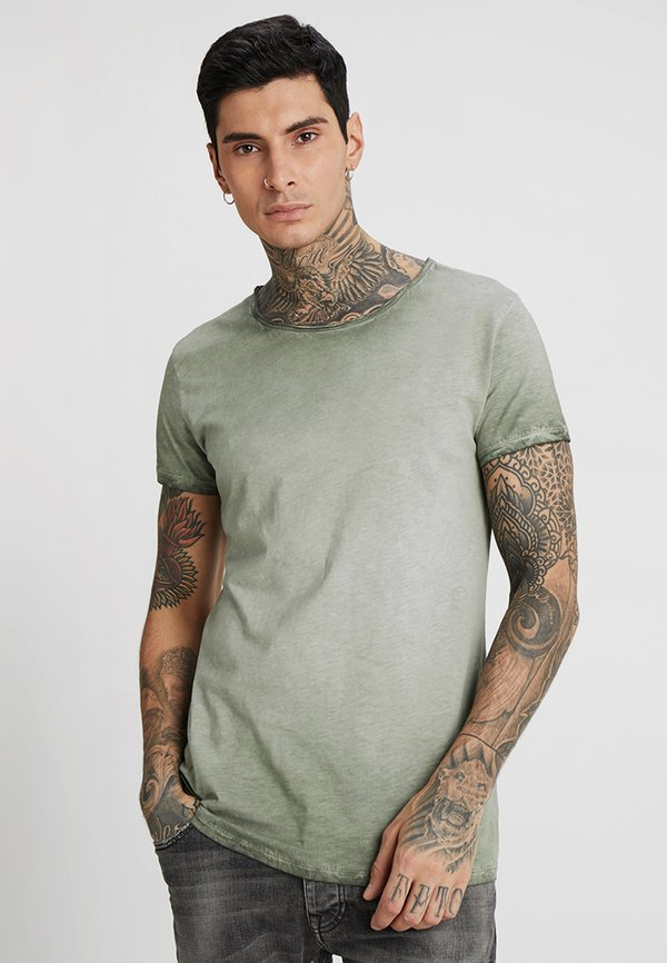 Tigha VITO SLUB - T-shirt z nadrukiem - military green/ciemnozielony Odzież Męska UWNH