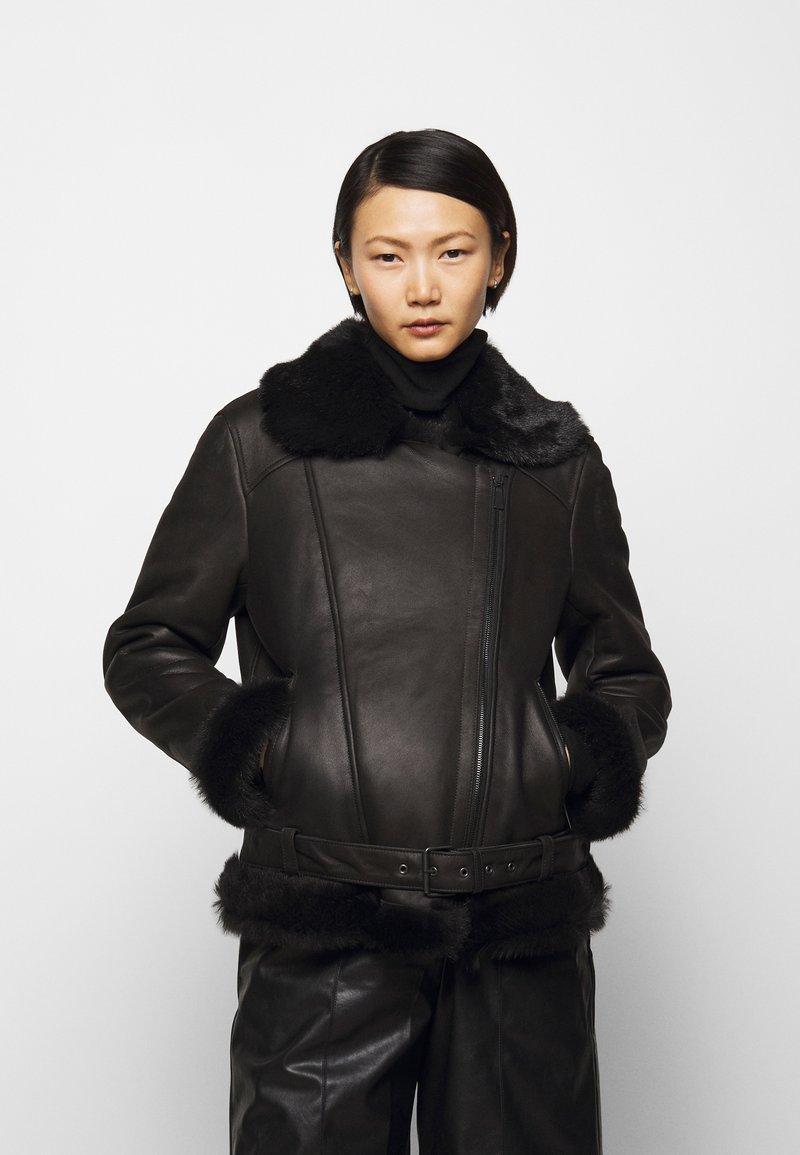 STUDIO ID - BIKER JACKET - Leather jacket - black/dark grey