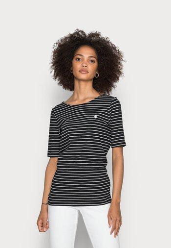 SHORT SLEEVE ROUND NECK STRIPED - Print T-shirt - dusty black
