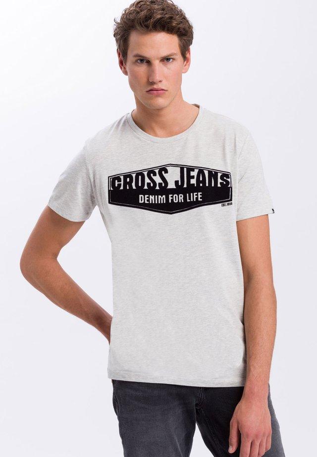 Print T-shirt - ecru-meliert