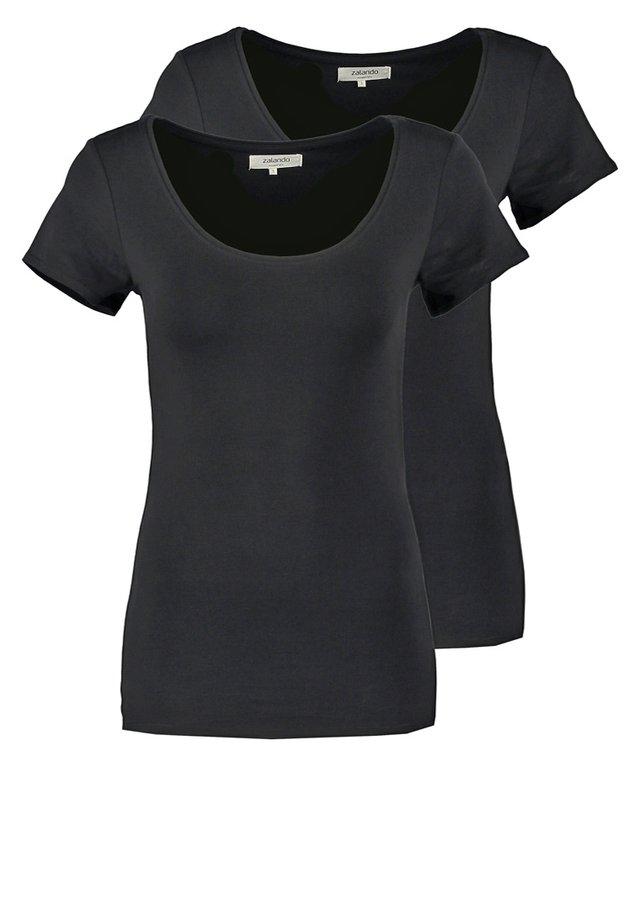 2 PACK - Jednoduché triko - black/black