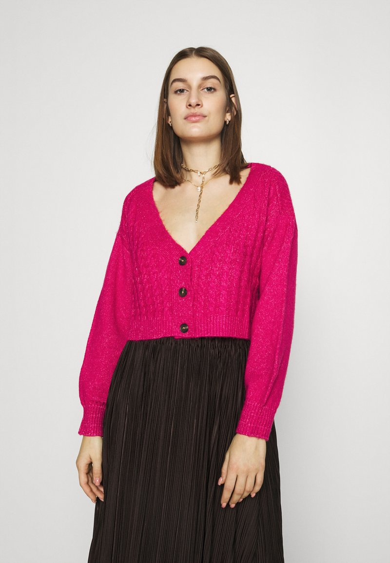 Who What Wear - WIDE NECK  - Cardigan - magenta