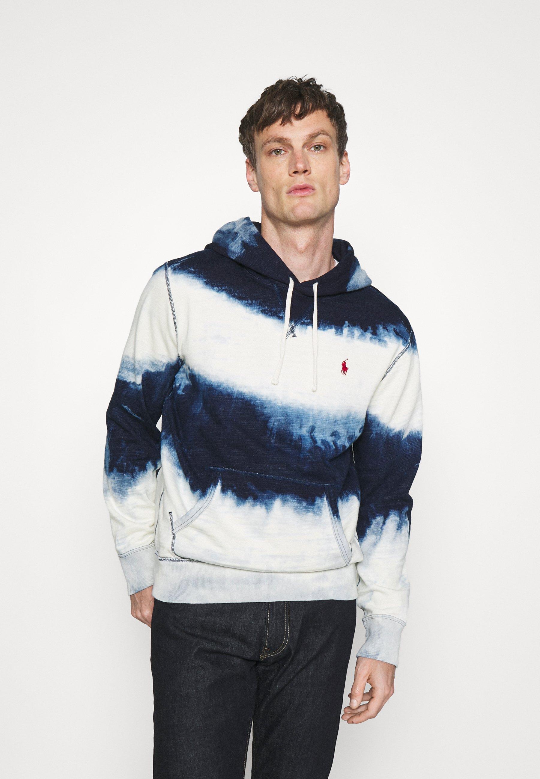 Men INDIGO COTTON-BLEND HOODIE - Sweatshirt