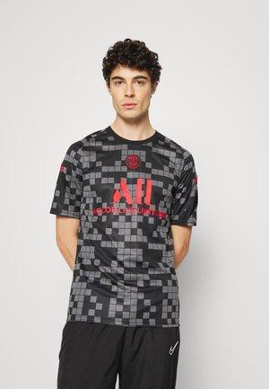 PARIS ST. GERMAIN - T-shirt imprimé - black/siren red