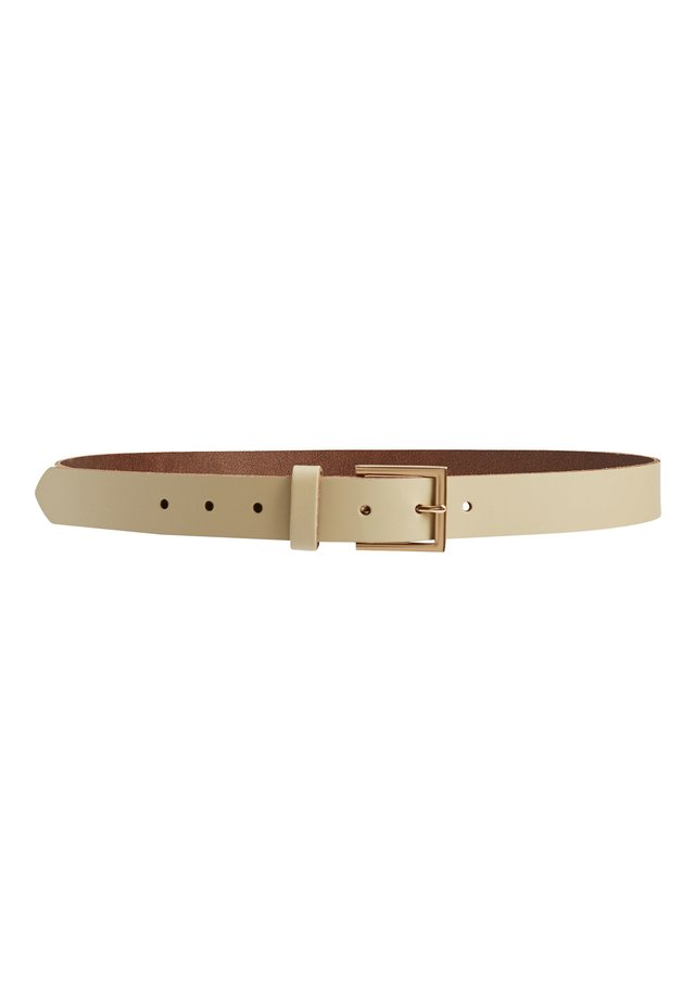 NAVY ESSENTIAL LEATHER BELT - Belt - white