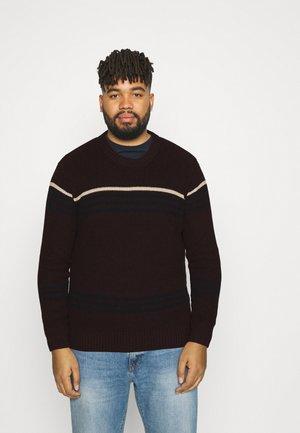 KOBE STRIPE BIG & TALL - Stickad tröja - burgundy