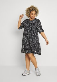 ONLY Carmakoma - CARPELLY PEPLUM DRESS PLUS - Day dress - black - 0