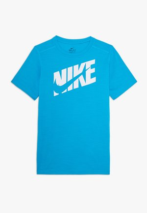 Print T-shirt - laser blue/white