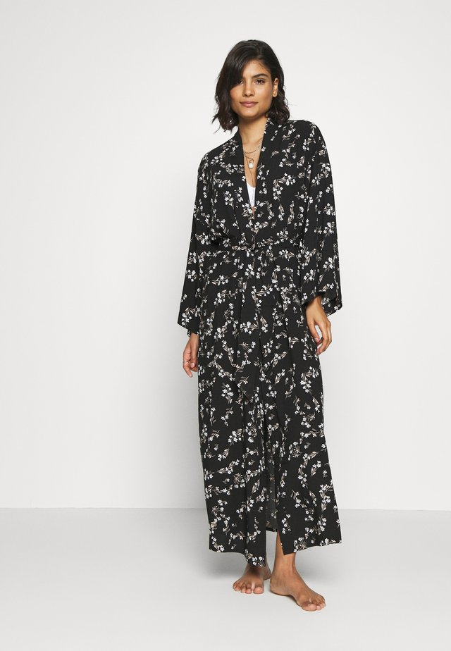 LISHA - LONG PRINTED ROBE  - Badekåpe - black/gold