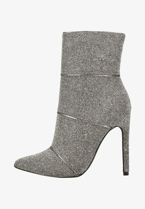 High heeled ankle boots - silver