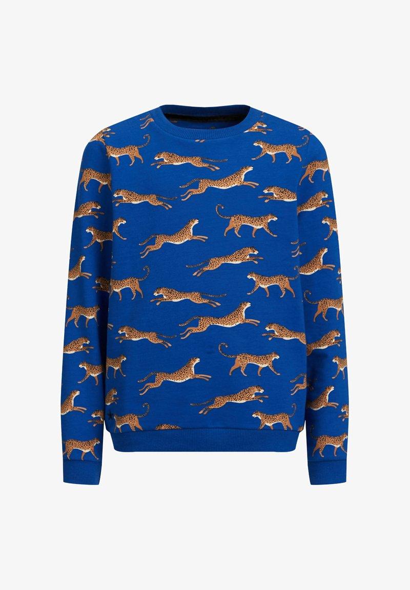 WE Fashion - MET LUIPAARDPRINT - Sweatshirt - cobalt blue