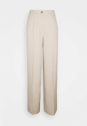 WIDE SUIT PANTS - Trousers - beige