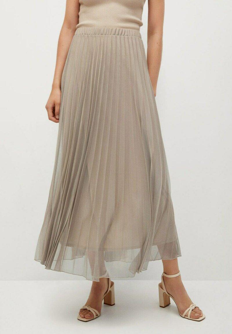 Mango - MIT METALLIC-EFFEKT - A-line skirt - beige