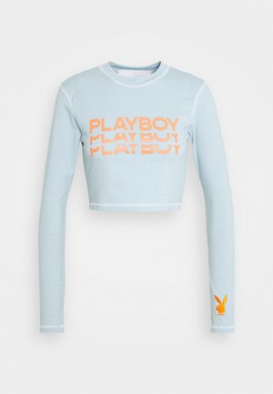 PLAYBOY TRIPLE LOGO CONTRAST STITCH CROP - Camiseta de manga larga - dusky blue