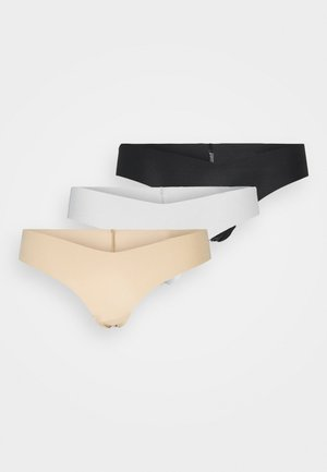 NO SHOW V THONG SOLID 3 PACK - Thong - natural nude/true black/white