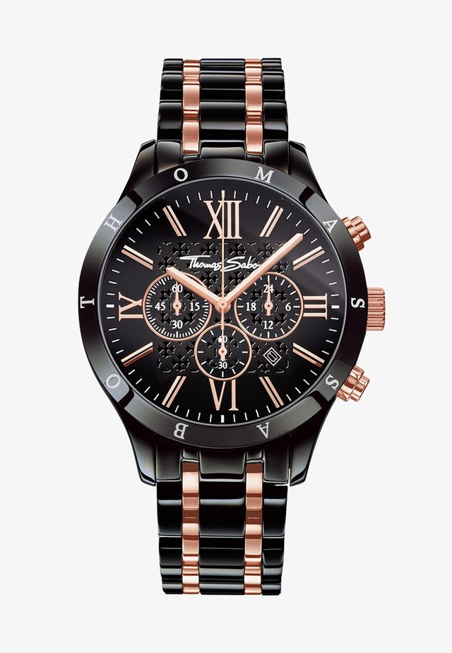 REBEL URBAN - Chronograph watch - rosegold-colored/black