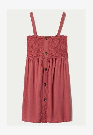 KLEID IN LEINWANDBINDUNG MIT GESMOKTEM OBERTEIL - Day dress - red copper