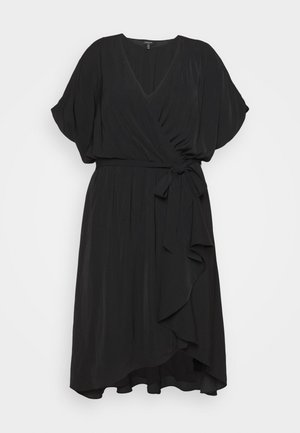 MELINA BATWING RUFFLE WRAP DRESS - Day dress - black