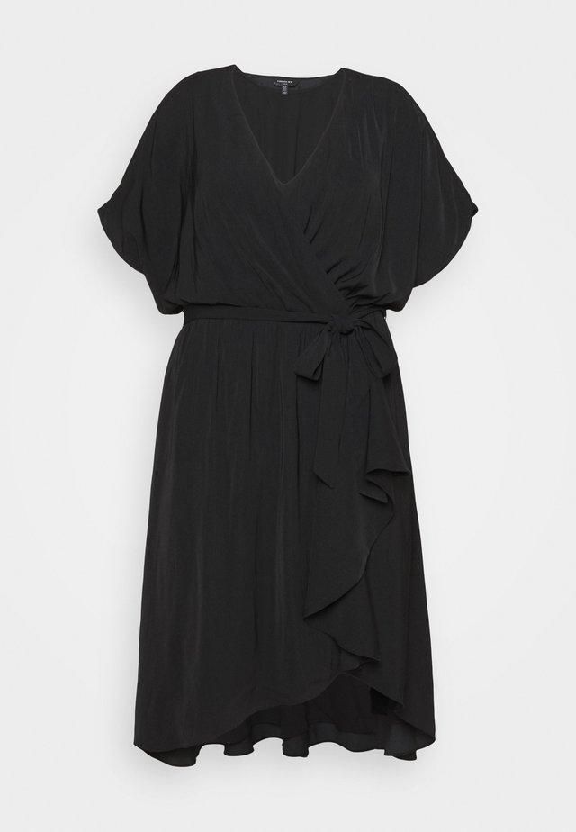 MELINA BATWING RUFFLE WRAP DRESS - Vestito estivo - black