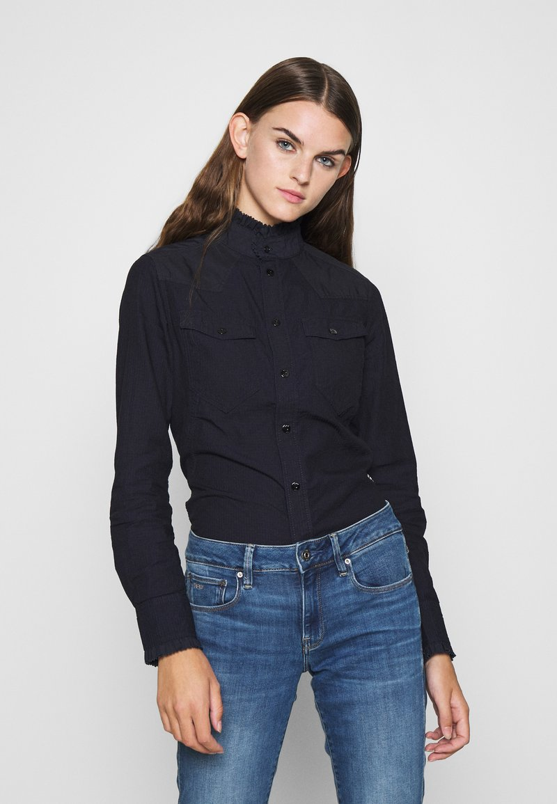 G-Star - WESTERN KICK FRILL SLIM LONG SLEEVE - Button-down blouse - rinsed