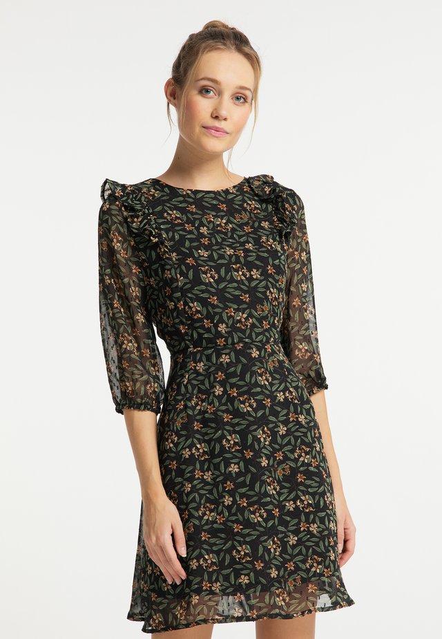 Korte jurk - schwarz blumen