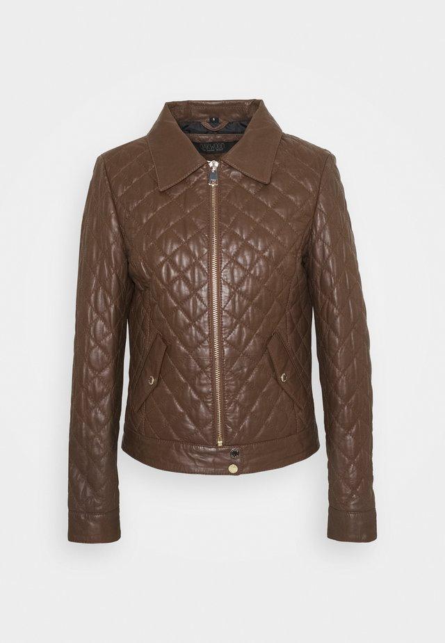 HOLIDAYS - Leather jacket - tobacco