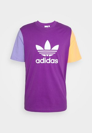 BLOCKED TREF UNISEX - Print T-shirt - active purple/light purple/hazy orange