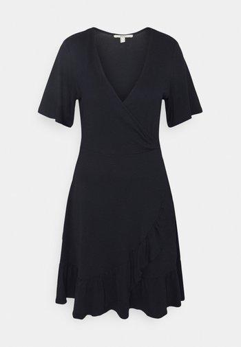 VNECK FRILLS - Day dress - navy