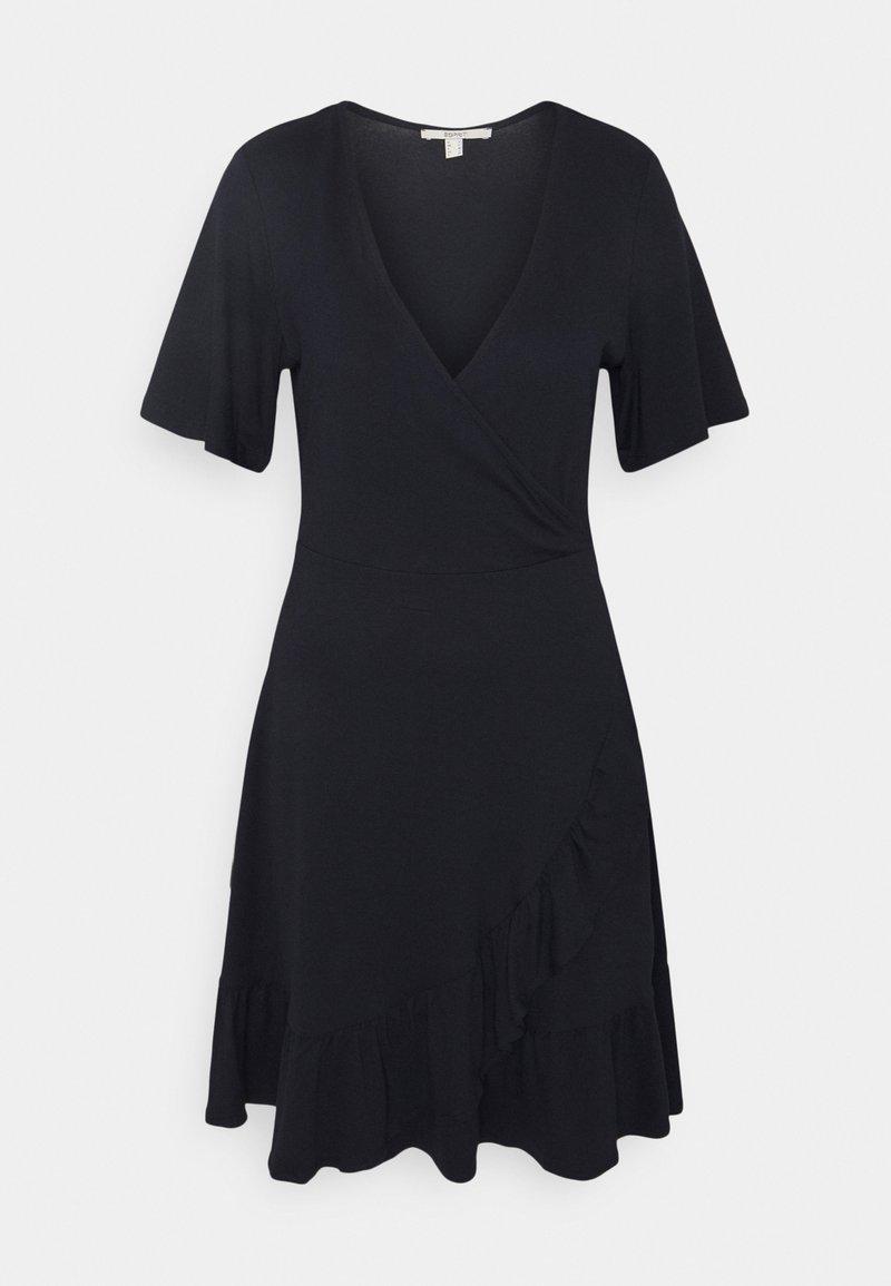 Esprit - VNECK FRILLS - Day dress - navy