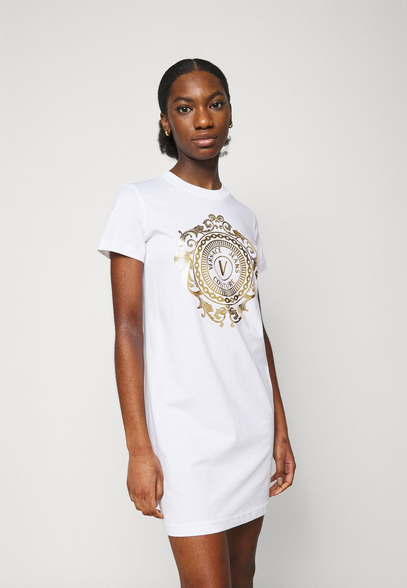 Versace Jeans Couture - DRESS - Jersey dress - optical white/gold