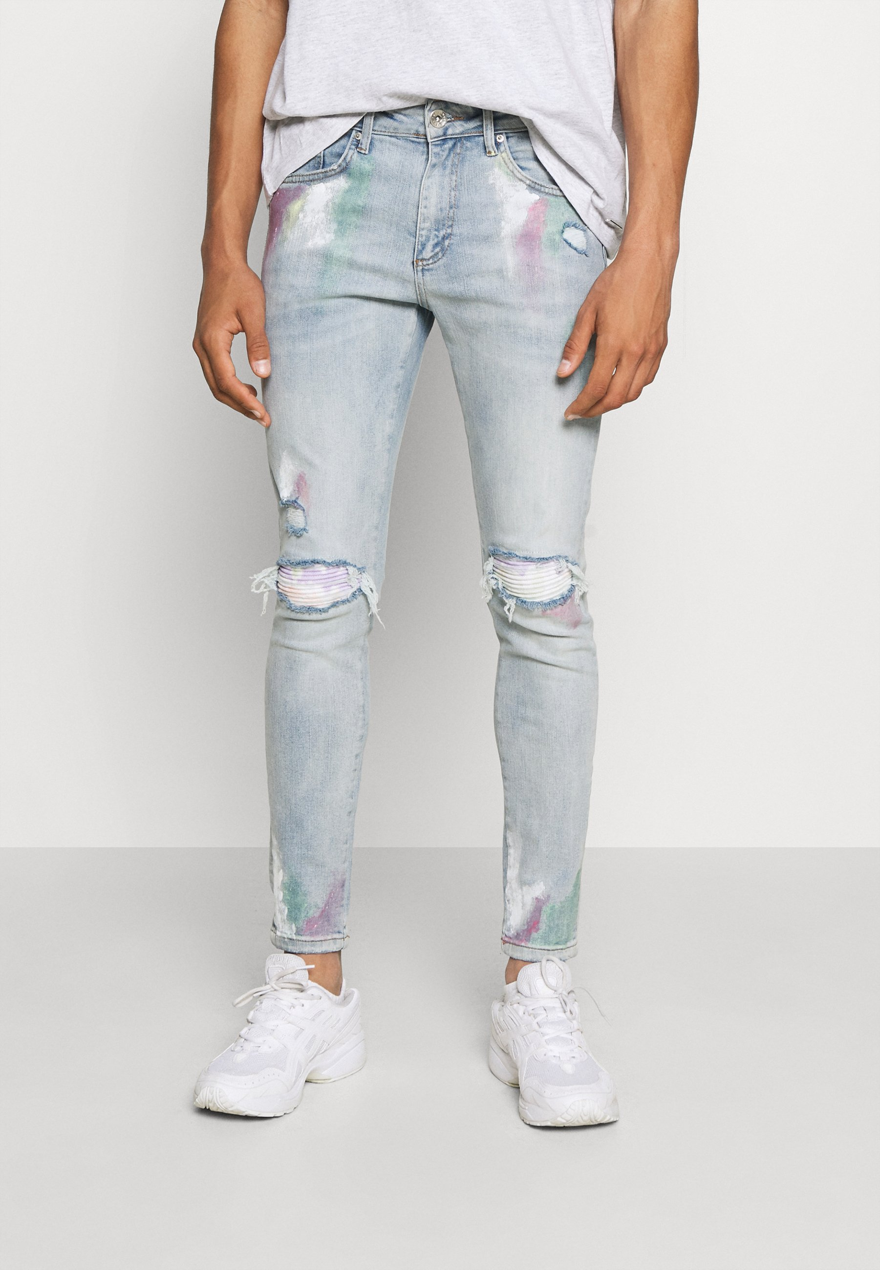 Men SLIM FIT PAISLEY RIP UPDATE WITH PASTEL PAINT AND PAISLEY - Slim fit jeans