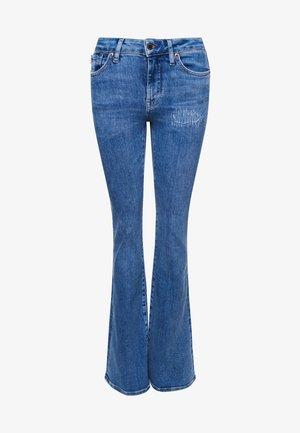 Flared Jeans - mid indigo destroy