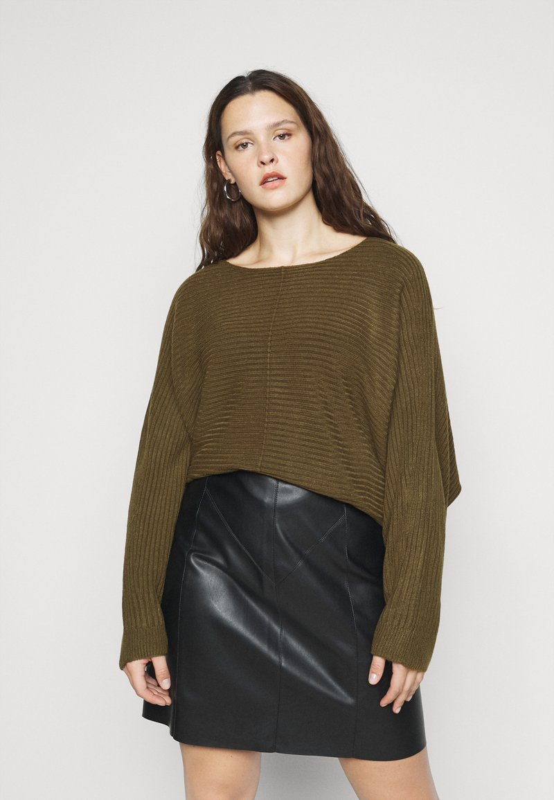 New Look Curves - EXPOSED SEAM CASH BAWTING - Jumper - khaki