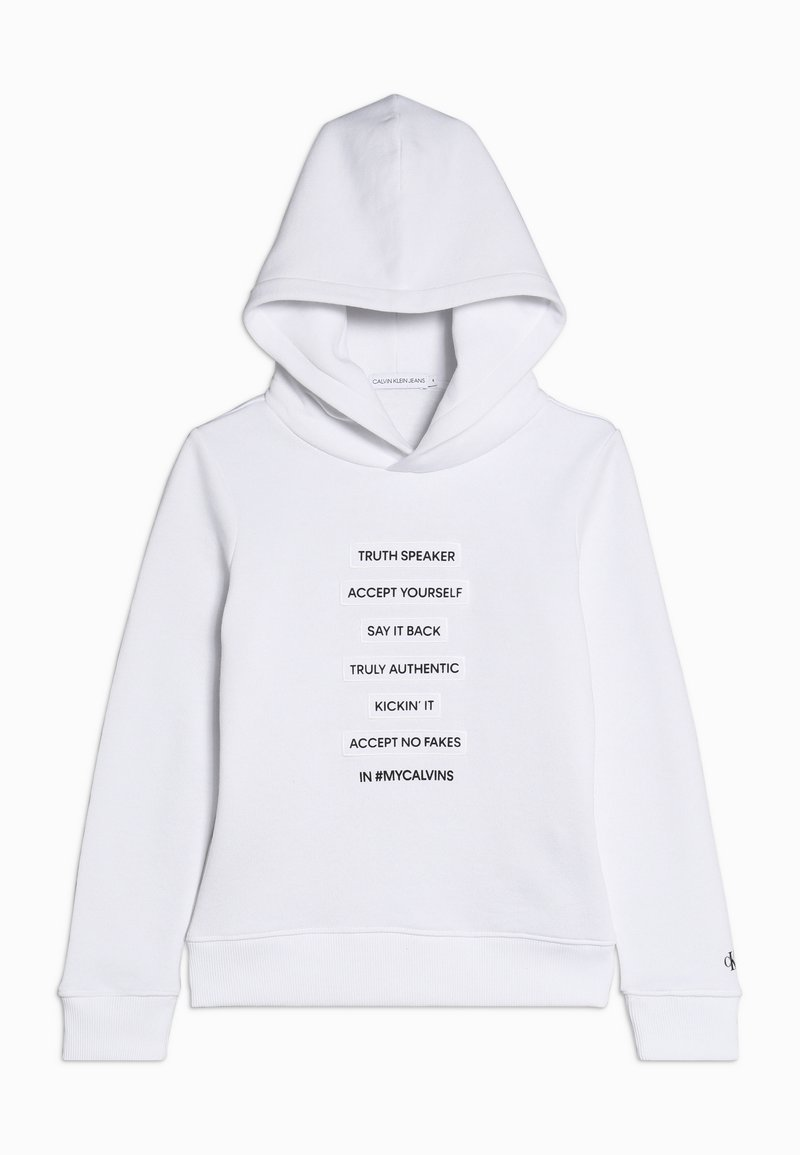 Calvin Klein Jeans - SLOGAN HOODIE - Mikina skapucí - white