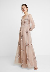 Maya Deluxe - PLUNGE FRONT ALL OVEREMBELLISHED MAXI DRESS WITH SPLIT - Occasion wear - taupe blush - 1