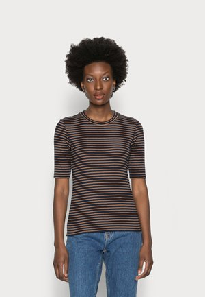 COSY  - T-shirt con stampa - navy/camel