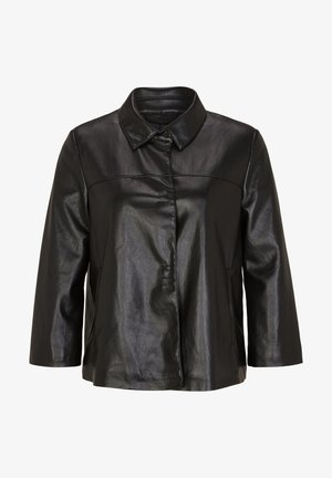 MIT TROMPETENÄRMEL - Faux leather jacket - black
