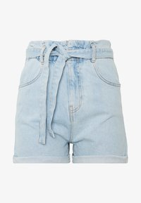 Gina Tricot - PAPERBAG DENIM SHORTS - Denim shorts - light blue - 0